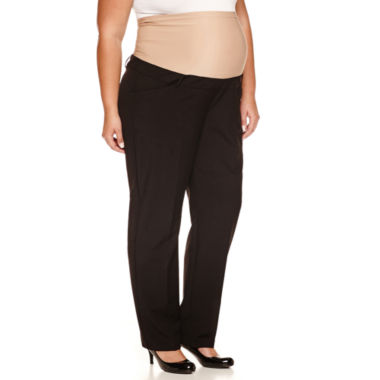 jcpenney.com | duo™ Maternity Overbelly Straight-Leg Trouser Pants - Plus