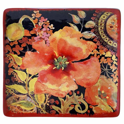 Certified International Watercolor Poppies Serving Platter