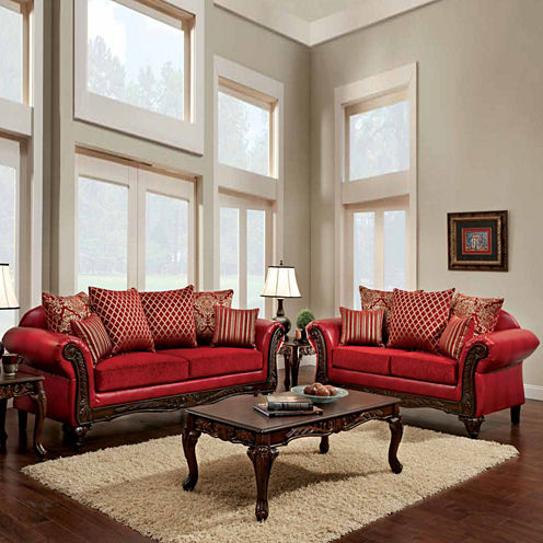 Byron Traditional Roll-Arm Loveseat