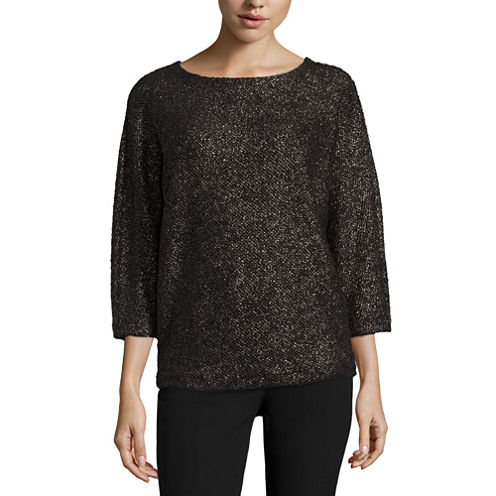 Worthington 3/4 Sleeve Scoop Neck Pullover Sweater-Talls