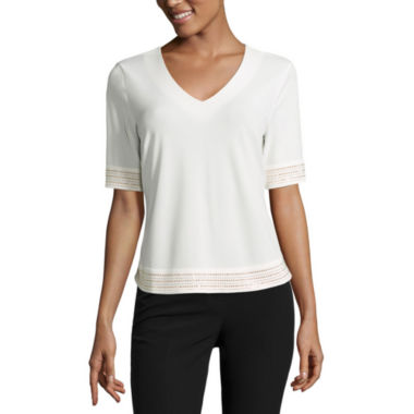 jcpenney.com | Worthington Embellished Trim Top