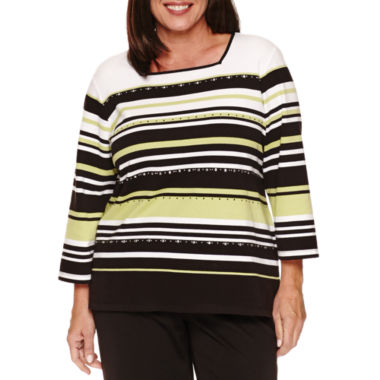 jcpenney.com | Alfred Dunner Casual Friday 3/4 Sleeve Crew Neck T-Shirt-Plus