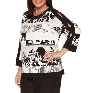 jcpenney.com | Alfred Dunner Theater District  3/4 Sleeve Boat Neck T-Shirt-Plus