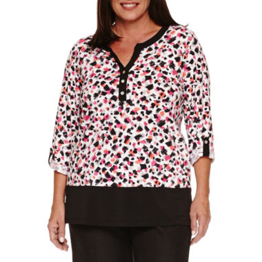 jcpenney.com | ALFRED DUNNER THEATER DISTRIC 3/4 SLEEVE ANIMAL BOARDER PRINT TUNIC
