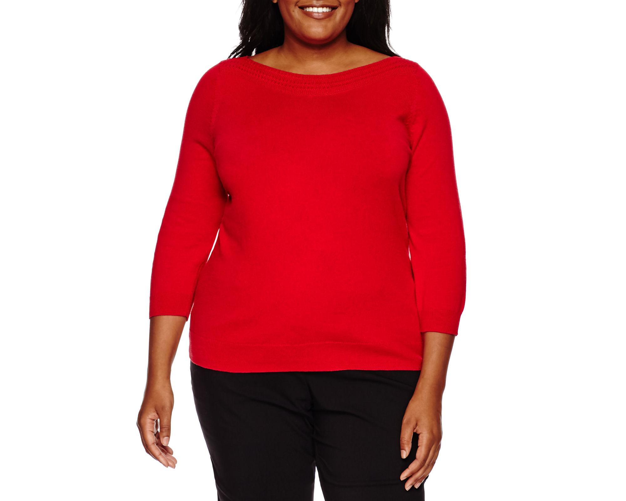 Worthington 3/4-Sleeve Pointelle-Trim Sweater - Plus