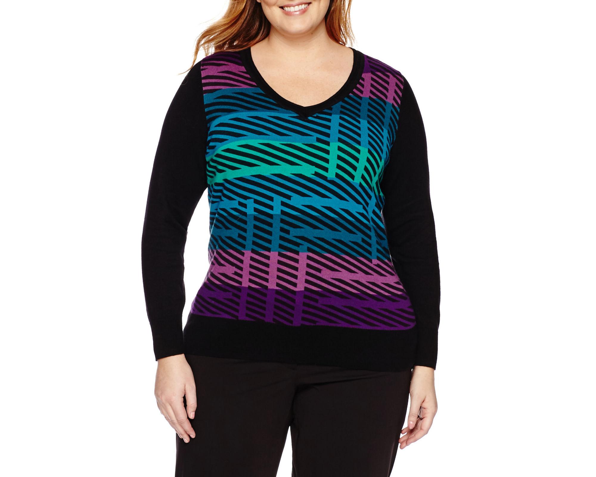 Worthington Long Sleeve V-Neck Pullover Sweater - Plus