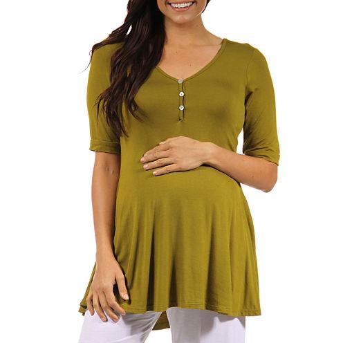 24/7 Comfort Apparel Knit Blouse-Plus Maternity