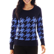 Liz Claiborne Long-Sleeve Houndstooth Sweater