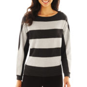 Liz Claiborne Long-Sleeve Metallic-Striped Sweater - Talls