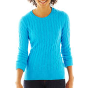 jcp™ Wool-Blend Cable-Knit Crew Sweater