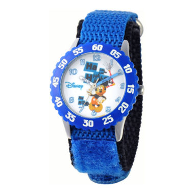 jcpenney.com | Disney Mickey Mouse Time Teacher Kids Stainless Steel Blue Strap Watch