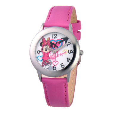 jcpenney.com | Disney Minnie Mouse Pink Leather Strap Watch