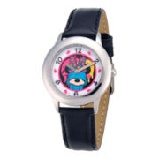 Disney Minnie Mouse Black Leather Strap Watch