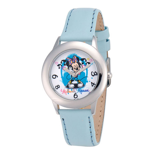 Disney Minnie Mouse Blue Leather Strap Watch
