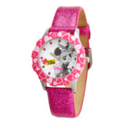 Disney Minnie Mouse Glitz Pink Leather Strap Watch
