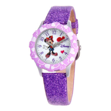 jcpenney.com | Disney Minnie Mouse Glitz Purple Leather Strap Watch