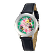 Disney Tinker Bell Black Leather Strap Watch