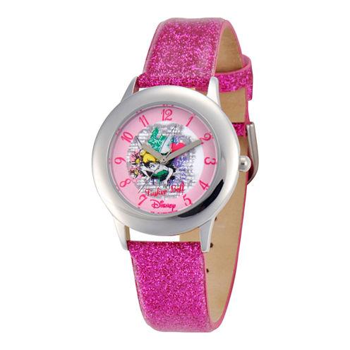 Disney Tinker Bell Pink Glitter Strap Watch