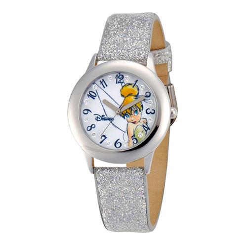Disney Tinker Bell Glitz Silver Glitter Strap Watch