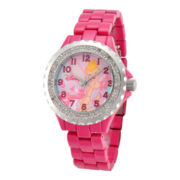 Disney Womens Tinker Bell Pink Enamel Watch