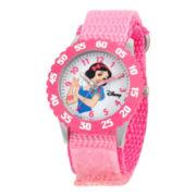 Disney Kids Snow White Time Teacher Kids Stainless Steel Pink Strap Watch
