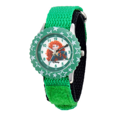 jcpenney.com | Disney Kids Merida Time Teacher Kids Stainless Steel Green Strap Watch