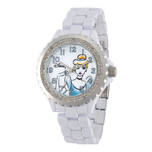 Disney Womens Cinderella White Enamel Watch