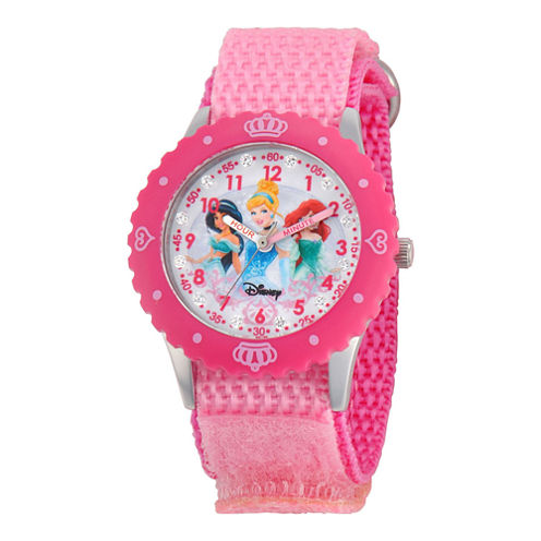 Disney Princesses Time Teacher Kids Pink Crown Glitz Watch