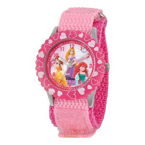 Disney Princesses Time Teacher Kids Pink Heart Glitz Watch