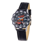 Disney Cars Black Leather Strap Watch