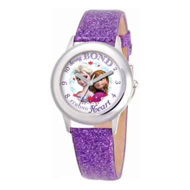 jcpenney.com | Disney Frozen Anna & Elsa Purple Glitter Strap Watch