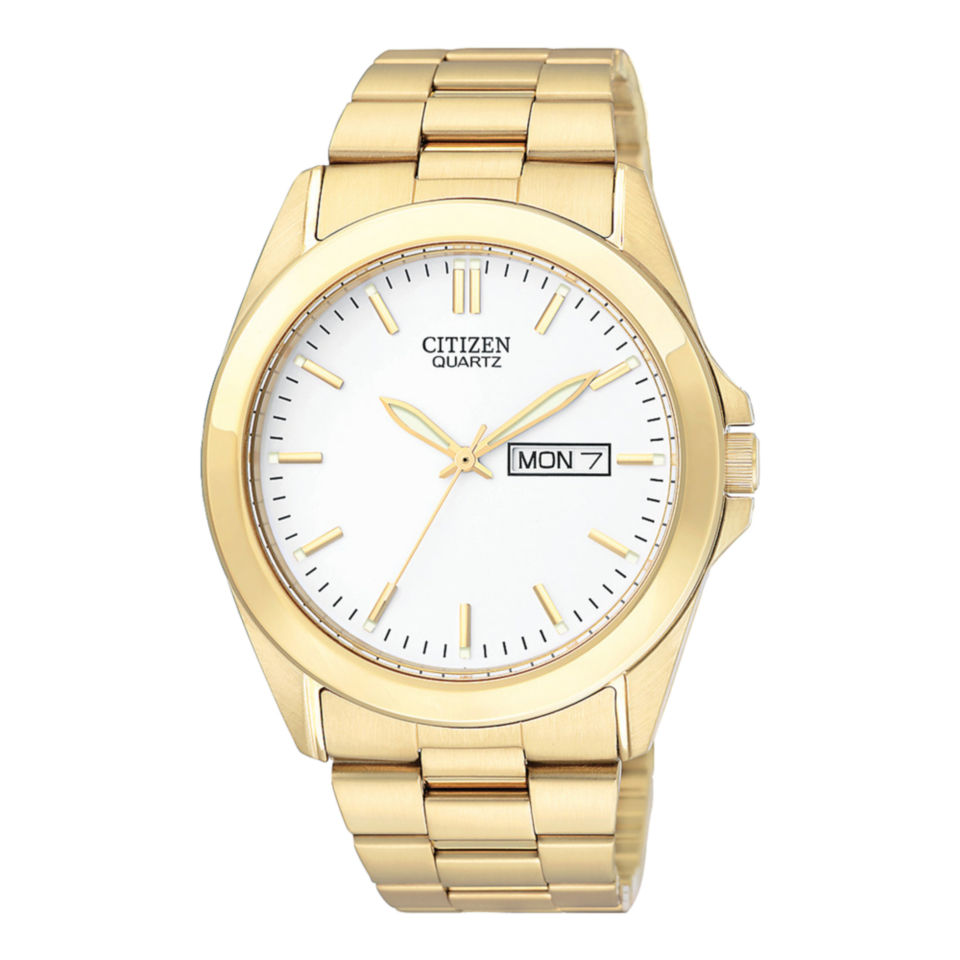 citizen quartz citizen mens gold tone with day date