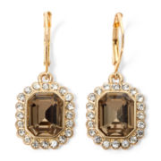 Monet® Gold-Tone, Crystal & Brown Stone Drop Earrings