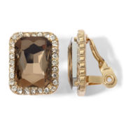 Monet® Gold-Tone, Crystal & Brown Stone Clip-On Button Earrings