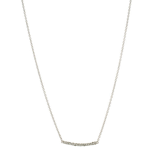 CZ by Kenneth Jay Lane Silver-Tone Bar Pendant Necklace