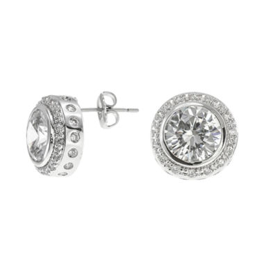 jcpenney.com | CZ by Kenneth Jay Lane Round Bezel Halo Stud Earrings