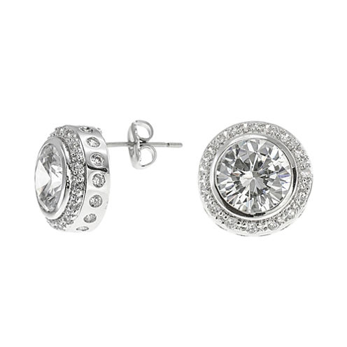 CZ by Kenneth Jay Lane Round Bezel Halo Stud Earrings