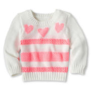 Arizona Hearts-and-Stripes Sweater - Girls 12m-6y
