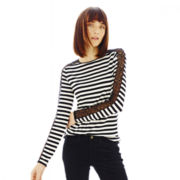 Joe Fresh™ Sequin & Lace Striped Tee