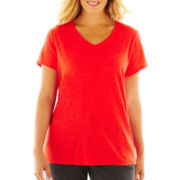 jcp™ Short-Sleeve V-Neck Tee- Plus