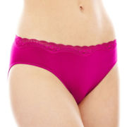 Ambrielle® Lace-Trim Seamless High-Cut Panties