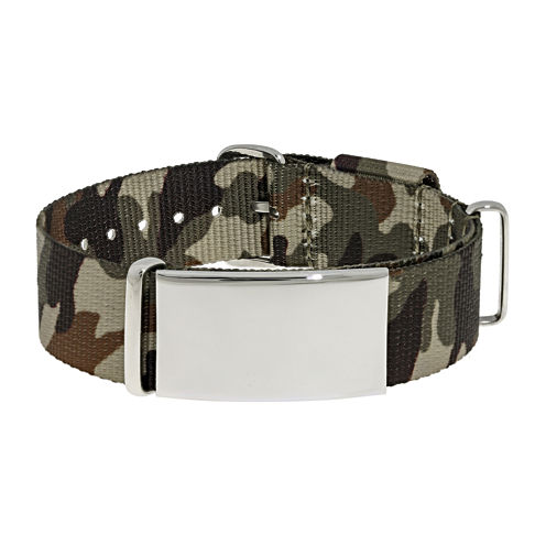 Mens Stainless Steel & Brown Camo ID Bracelet
