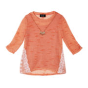 by&by Girl 3/4-Sleeve Lace Sweater with Necklace - Girls 7-16
