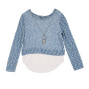 by&by Girl Long-Sleeve Textured Top with Necklace - Girls 7-16