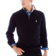 U.S. Polo Assn.® Quarter-Zip Sweater with Micro Sherpa-Lined Collar