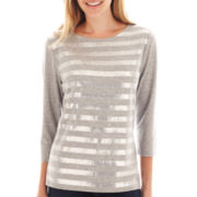 Liz Claiborne® 3/4-Sleeve Sequin-Striped Tee