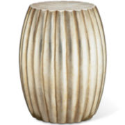 Silver Leaf Drum Accent Table