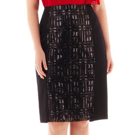 Worthington High-Waist Sequin Pencil Skirt - Plus