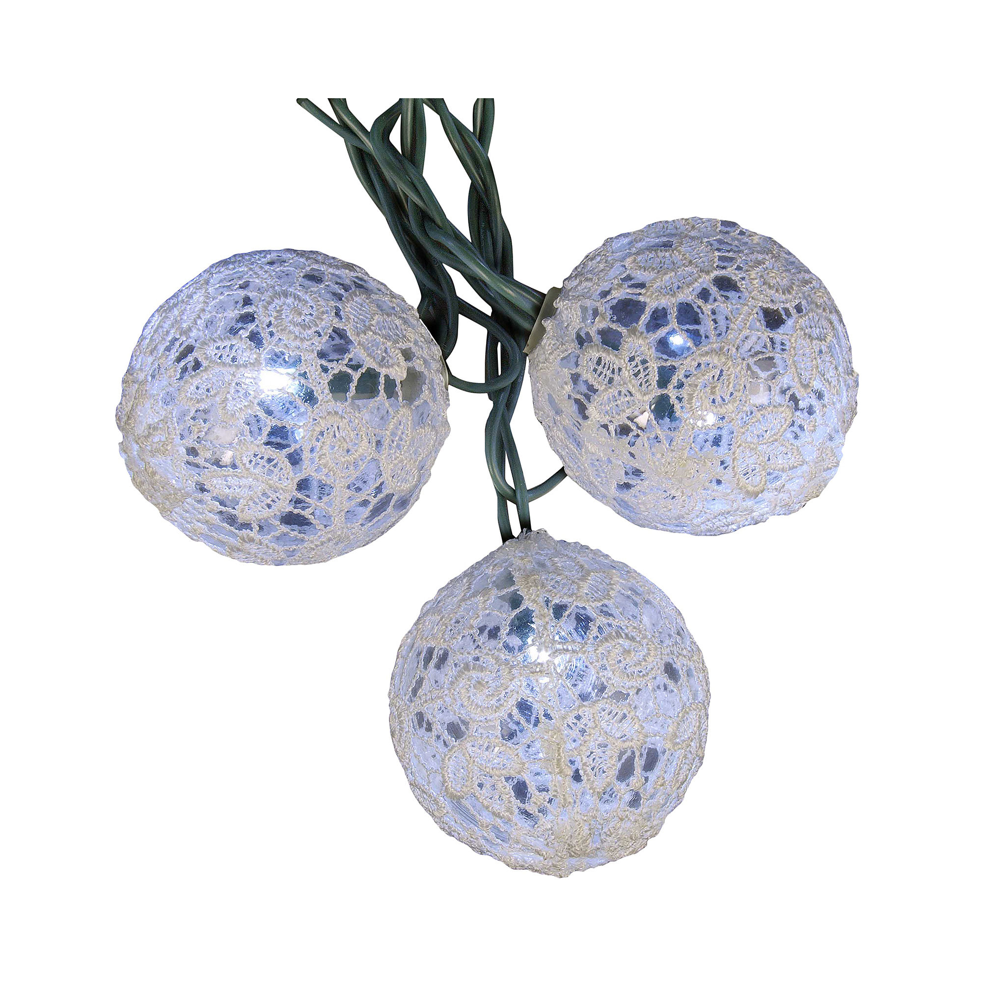UPC 086131330650 product image for Kurt Adler UL 10-Light Winter White LED Lace Ball Light Set | upcitemdb.com