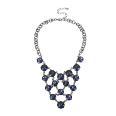 jcpenney.com | Worthington® Blue Crystal Gray-Tone Bib Statement Necklace